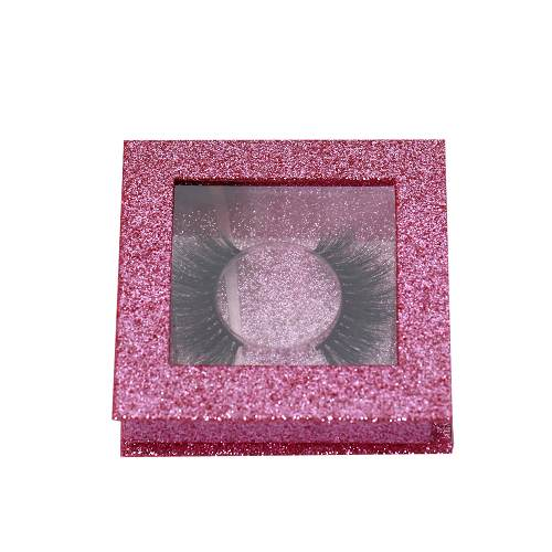 square pink glitter eyelash box with window