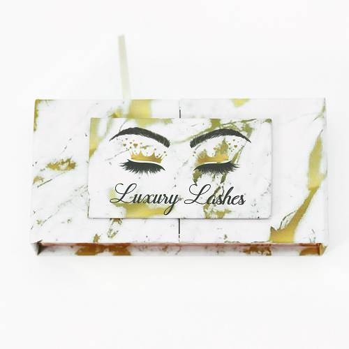 yellow marble eyelash packaging from Emma lashes